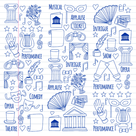Vector set with theatre icons. Entertainment, show, musical perfomance Banque d'images - 116649773
