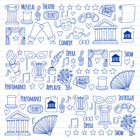 Vector set with theatre icons. Entertainment, show, musical perfomance Banque d'images - 116649774