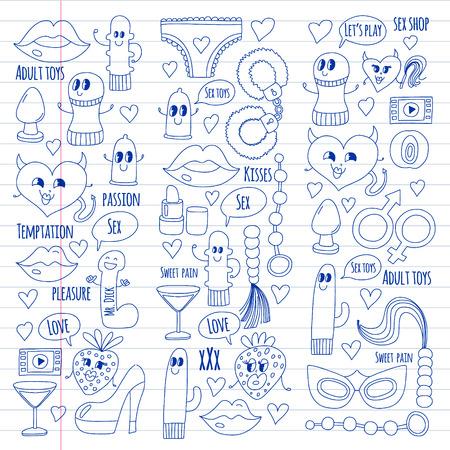 Icônes drôles pour la boutique. Personnages de dessins animés mignons. Gode, fraise, préservatif, coeur. Aimer et jouer