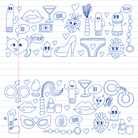 Funny icons for sex shop. Cute cartoon characters. Dildo, strawberry, condom, heart. Love and play