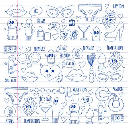 Lustige Icons für Shop. Süße Zeichentrickfiguren. Dildo, Erdbeere, Kondom, Herz. Liebe und Spiel