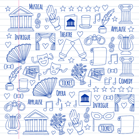 Vector set with theatre icons. Entertainment, show, musical perfomance Vector Illustration