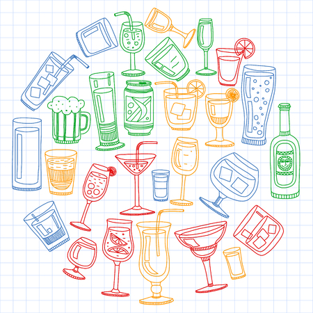 Collection of popular cocktails for the menu. Vector illustration