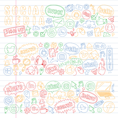 Social media and teamwork icons. Doodle images. Management, business, infographic.