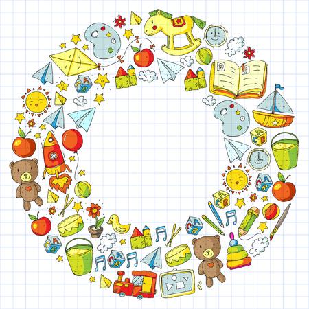 Jardin d'enfants avec des jouets. Modèle pour les enfants. Petite éducation des enfants d'âge préscolaire. Dessiner, apprendre Vecteurs