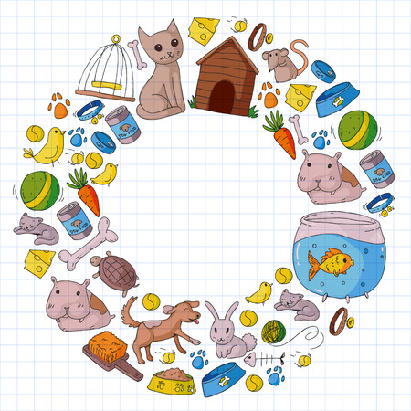 Pet shop. Vector illustration with animals, dog, cat, fish, Colorful background with kitten, bird, puppy. Veterinarian clinic. Illustration