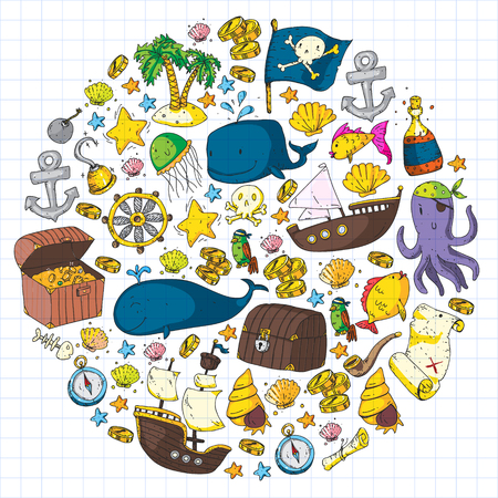Ocean and sea for children. Pattern for boys. Pirate party. Cute fishes, animals, treasures. Kids vacation pattern, beach toys and elements. Illustration