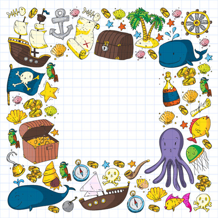 Ocean and sea for children. Pattern for boys. Pirate party. Cute fishes, animals, treasures. Kids vacation pattern, beach toys and elements Illustration