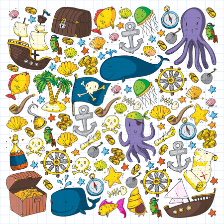 Ocean and sea for children. Pattern for boys. Pirate party. Cute fishes, animals, treasures. Kids vacation pattern, beach toys and elements Stock Illustratie