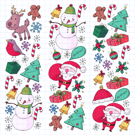 Christmas winter party. Happy new year. Bullfinch, Santa Claus, snowman, deer Presents and candy