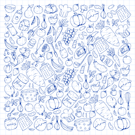 Healthy food and cooking. Doodle vector set. Ilustracja