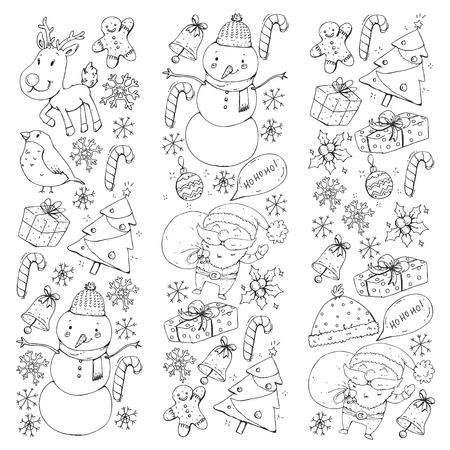 Festa invernale di Natale. Felice anno nuovo. Ciuffolotto, Babbo Natale, pupazzo di neve, regali di cervo e caramelle Vettoriali