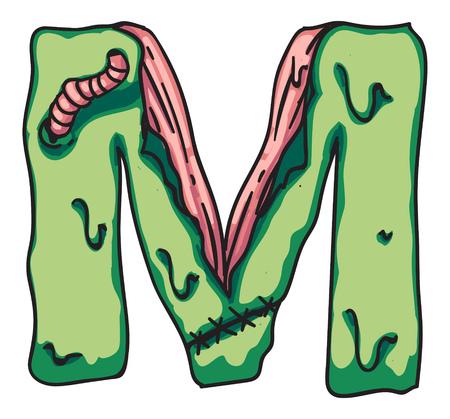 Zombie alphabet letters. Creepy design for prints.