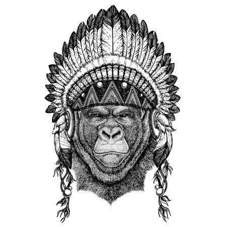 Gorilla, monkey Wild animal wearing indian headdress with feathers.