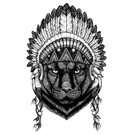 Black panther. Wild animal wearing indian headdress with feathers.