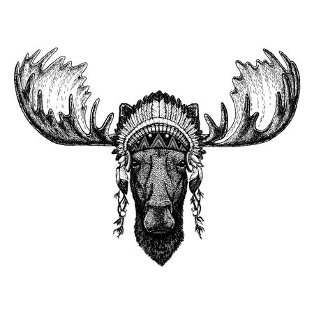 Moose, elk Wild animal wearing indian headdress with feathers. Stock Illustratie