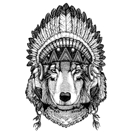 Wild animal wearing inidan headdress with feathers. Boho chic style illustration for tattoo, emblem, badge, logo, patch. Children clothing image