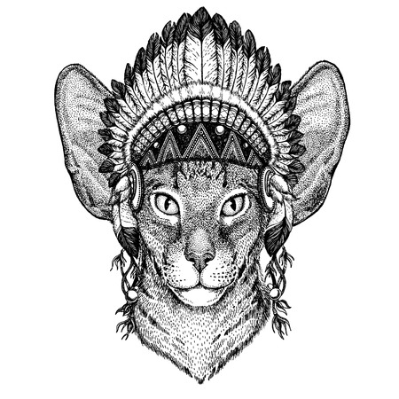 Wild animal wearing inidan headdress with feathers. Boho chic style illustration for tattoo, emblem, badge, logo, patch. Children clothing image Logo