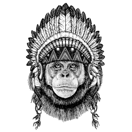 Chimpanzee. Monkey. Wild animal wearing indian headdress with feathers.