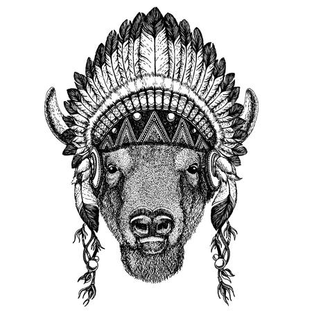 Wild animal wearing indian headdress with feathers. Stock Illustratie