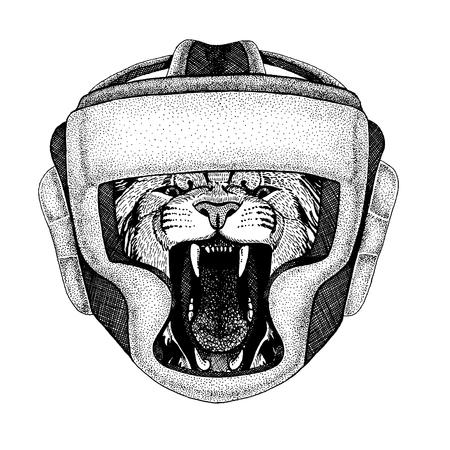 Hand drawn image of lion for tattoo, t-shirt, emblem, badge, logo, patch Ilustração