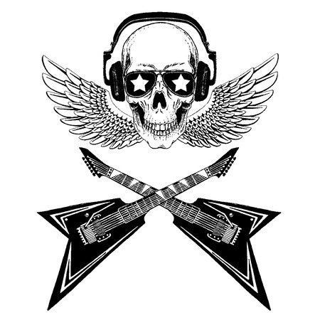 Cool rock music skull with headphones for t-shirt, emblem, tattoo, sketch, patch Standard-Bild - 117923223