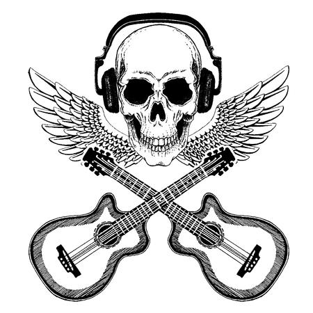 Cool rock music skull with headphones for t-shirt, emblem, tattoo, sketch, patch Standard-Bild - 117923224