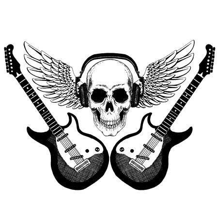 Cool rock music skull with headphones for t-shirt, emblem, tattoo, sketch, patch Standard-Bild - 117923467
