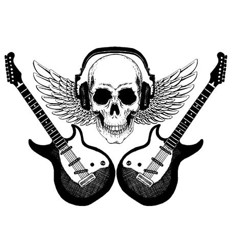 Cool rock music skull with headphones for t-shirt, emblem, tattoo, sketch, patch Standard-Bild - 117923465
