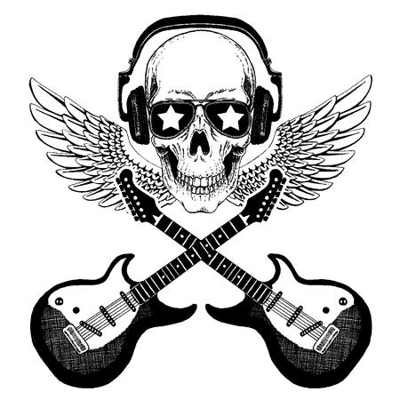 Cool rock music skull with headphones for t-shirt, emblem, tattoo, sketch, patch Standard-Bild - 117923470