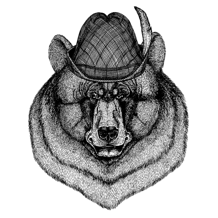 Wild animal Hand drawn image for tattoo, t-shirt, emblem, badge, logo, patch Stok Fotoğraf - 124926265