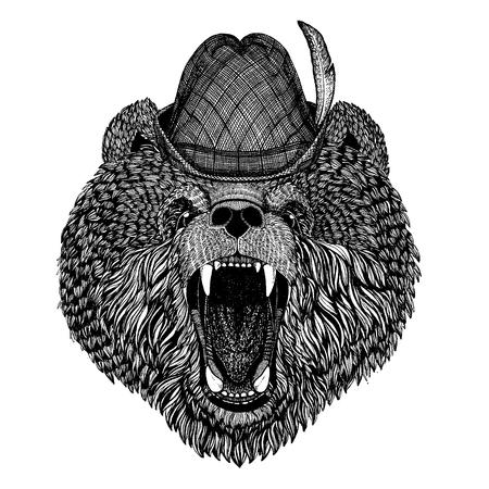 Wild animal Hand drawn image for tattoo, t-shirt, emblem, badge, logo, patch Stok Fotoğraf - 124926268
