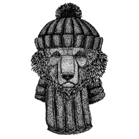 Cool animal wearing knitted winter hat. Warm headdress beanie Christmas cap for tattoo, t-shirt, emblem, badge, patch