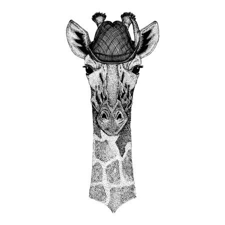 Wild animal Hand drawn image for tattoo, t-shirt, emblem, badge, logo, patch Stok Fotoğraf - 124926270