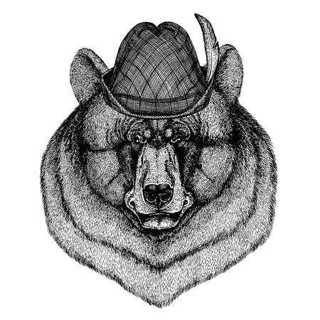 Wild animal Hand drawn image for tattoo, t-shirt, emblem, badge, logo, patch Stok Fotoğraf - 124926271