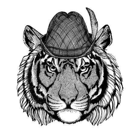 Wild animal Hand drawn image for tattoo, t-shirt, emblem, badge, logo, patch Stok Fotoğraf - 124926272