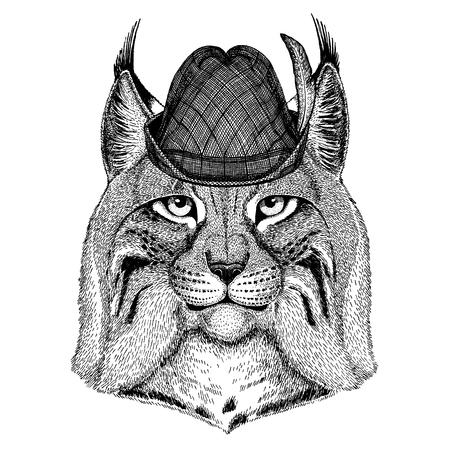 Wild animal Hand drawn image for tattoo, t-shirt, emblem, badge, logo, patch Stok Fotoğraf - 124926273