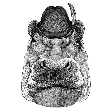 Wild animal Hand drawn image for tattoo, t-shirt, emblem, badge, logo, patch Illustration