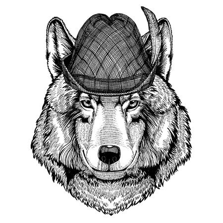 Wild animal Hand drawn image for tattoo, t-shirt, emblem, badge, logo, patch Stok Fotoğraf - 124926275