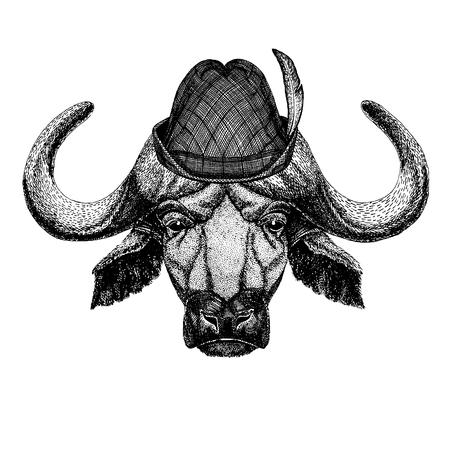 Wild animal Hand drawn image for tattoo, t-shirt, emblem, badge, logo, patch Stok Fotoğraf - 124926276