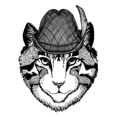 Wild animal Hand drawn image for tattoo, t-shirt, emblem, badge, logo, patch Stok Fotoğraf - 124926277