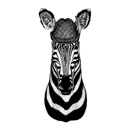 Wild animal Hand drawn image for tattoo, t-shirt, emblem, badge, logo, patch Stok Fotoğraf - 124926278