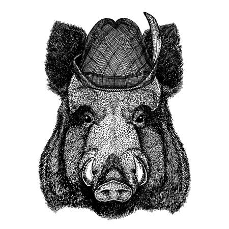 Wild animal Hand drawn image for tattoo, t-shirt, emblem, badge, logo, patch Stok Fotoğraf - 124926279