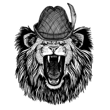 Wild animal Hand drawn image for tattoo, t-shirt, emblem, badge, logo, patch Stok Fotoğraf - 124926280