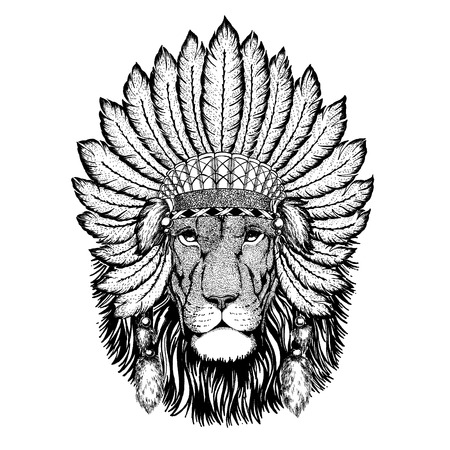 Wild animal wearing indian headdress with feathers. Illustration