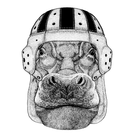 Cool animal wearing rugby helmet Extreme sport game Hippo, Hippopotamus, behemoth, river-horse t-shirt, tattoo, emblem, badge  patch Isolated on white background Illustration