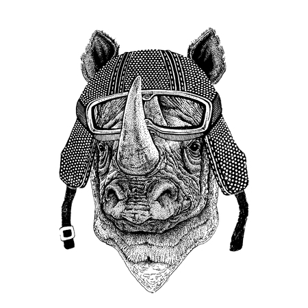 Animal wearing motorcycle helmet. Image for kindergarten children clothing, kids. T-shirt, tattoo, emblem, badge, patch 向量圖像