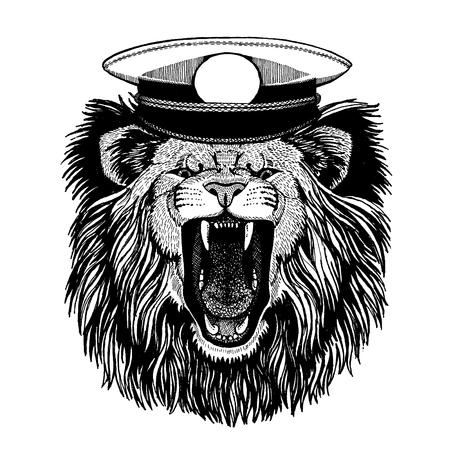 Wild animal wearing capitan hat