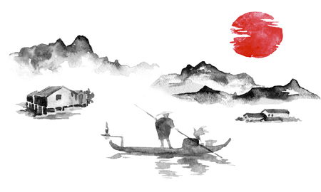 Japan traditional sumi-e painting. Indian ink illustration. Man and boat. Sunset, dusk. Japanese picture. Imagens - 117924813