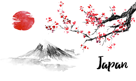 Japan traditional sumi-e painting. Sakura, cherry blossom. Fuji mountain. Indian ink illustration. Japanese picture. Imagens - 117924812